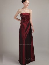 Burgundy Natural Strapless A-line Satin Floor-length Bridesmaid Dress
