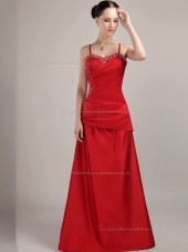 Red Floor-length Spaghetti Straps A-line Natural Satin Bridesmaid Dress