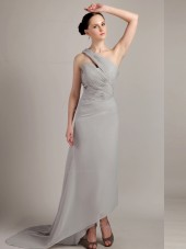 Gray Column / Sheath Chiffon One Shoulder Natural Sweep Bridesmaid Dress