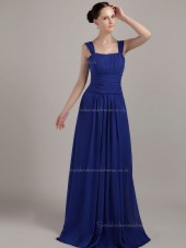 Royal Blue Bateau A-line Empire Chiffon Floor-length Bridesmaid Dress