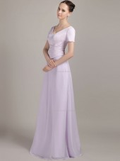 Lilac Floor-length Bateau Chiffon A-line Empire Bridesmaid Dress
