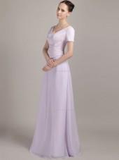 Lilac Floor-length Bateau Chiffon A-line Empire Bridesmaid Dress