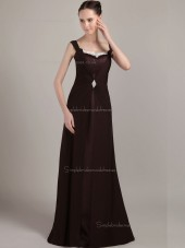 Chocolate Floor-length Bateau Natural A-line Chiffon Bridesmaid Dress