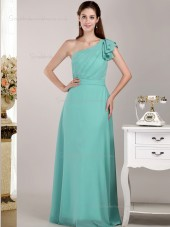 Jade Floor-length One Shoulder Natural Chiffon A-line Bridesmaid Dress