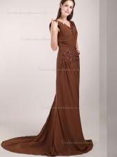 Brown V-neck Chiffon Sweep Mermaid Natural Bridesmaid Dress
