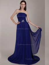 Royal Blue A-line Chiffon Empire Strapless Sweep Bridesmaid Dress