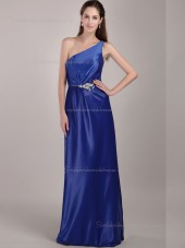 Royal Blue Satin One Shoulder Column / Sheath Natural Floor-length Bridesmaid Dress