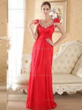 Red Bateau Empire Chiffon Column / Sheath Floor-length Bridesmaid Dress