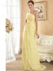 Daffodil Sweep Chiffon One Shoulder A-line Empire Bridesmaid Dress