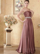 Brown Floor-length Satin One Shoulder A-line Empire Bridesmaid Dress