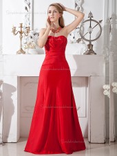 Red Floor-length Satin Empire A-line Bateau Bridesmaid Dress