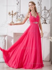 Watermelon Chiffon Sweep Empire A-line V-neck Bridesmaid Dress