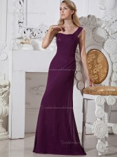 Grape Mermaid Natural One Shoulder Chiffon Floor-length Bridesmaid Dress