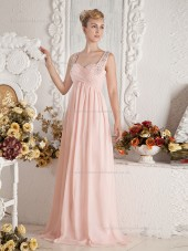Pink Floor-length Straps A-line Chiffon Empire Bridesmaid Dress