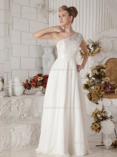 White Floor-length Chiffon A-line One Shoulder Natural Bridesmaid Dress