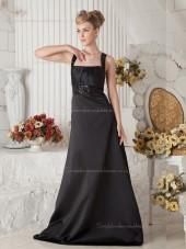 Black Empire Square Satin Sweep A-line Bridesmaid Dress