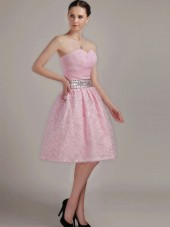 Pink A-line Sweetheart Knee-length Empire Bridesmaid Dress