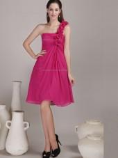 Red Knee-length One Shoulder A-line Empire Chiffon Bridesmaid Dress