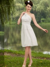 ivory Chiffon A-line One Shoulder Knee-length Empire Bridesmaid Dress