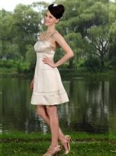 Champagne A-line Empire Short-length Spaghetti Straps Satin Bridesmaid Dress