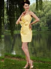 Daffodil Satin Empire V-neck Column / Sheath Short-length Bridesmaid Dress