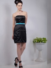 Black Strapless Satin Natural Column / Sheath Short-length Bridesmaid Dress