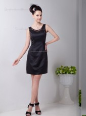 Black Scoop Short-length Natural A-line Satin Bridesmaid Dress