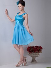 Pool Empire Knee-length Straps Chiffon A-line Bridesmaid Dress