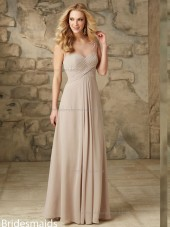 Custom Indy Pink Chiffon Floor-length Lace Bridesmaid Dress