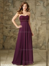 Custom Made Grape Chiffon Floor-length Ruffles Bridesmaid Dress
