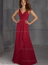 Elegant Red Chiffon Floor-length Ruched Bridesmaid Dress