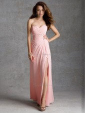 UK Blushing Pink Chiffon Floor-length Ruched Bridesmaid Dress