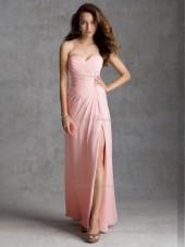 UK Blushing Pink Chiffon Floor-length Ruched Bridesmaid Dress
