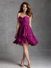 Hot Style Red Chiffon Short-length Ruched Bridesmaid Dress
