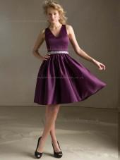 Perfect Grape Satin Short-length Ruched Bridesmaid Dress