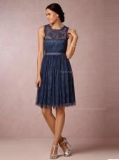Best A-line Lace Navy Bridesmaid Dresses