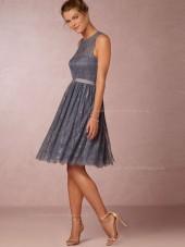 Beautiful Lace Knee-length Gray Bridesmaid Dresses