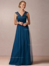 Unique Blue A-line Sweetheart Tulle Bridesmaid Dresses