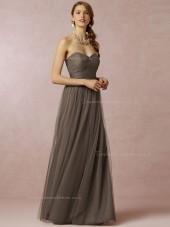 Pretty A-line Bow Floor-length Brown Bridesmaid Dresses