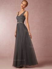 Stunning Lace Chiffon V-neck Gray Bridesmaid Dresses