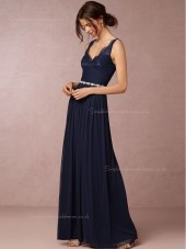 2016 Charming Chiffon V-neck Dark Navy Bridesmaid Dresses