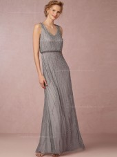 Dainty Beading V-neck Silver Floor-length Silver Bridesmaid Dresses