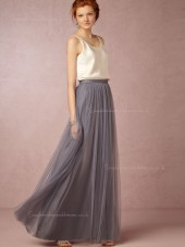 Adorable Gray Sleeveless Floor-length Tulle Bridesmaid Dresses