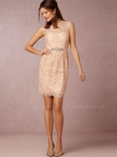 Dreamlike Lace Pink Mini Column / Sheath Applique Bateau Bridesmaid Dresses