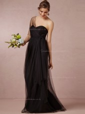 Modest A-line Ruched Sweetheart Black Empire Bridesmaid Dresses