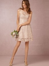 Fairytale A-line Lace Mini Pearl Pink Sleeveless Bridesmaid Dresses