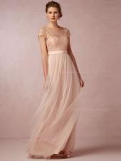 Elegant A-line Bateau Pearl Pink Cap Sleeve Bridesmaid Dresses