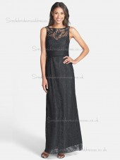 Fitted Black Lace Ankle Length Applique Bridesmaid Dresses