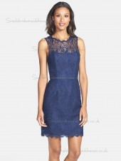 Fitted Short-length Blue Lace Bridesmaid Dresses