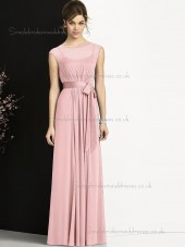Multicolor Cheap Floor-length Sash Candy Pink Chiffon Bridesmaid Dresses
